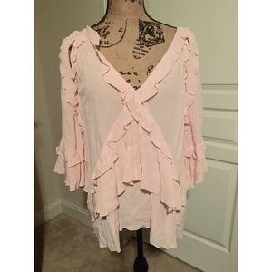 IRO Abby Tiered Ruffle Vneck blouse Light pink NWT